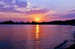 Eretria sea sunset Euboea Greece Stock Images