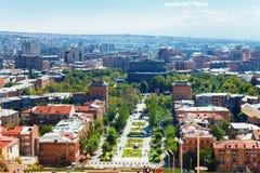 Ereván, Armenia - 26 de septiembre de 2016: Una vista de Ereván del complejo de la cascada en día soleado Fotos de archivo libres de regalías