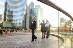 Erfüllte Geschäftsfrau, die mit Dokumentenfall und -partnern geht Lizenzfreie Stockbilder