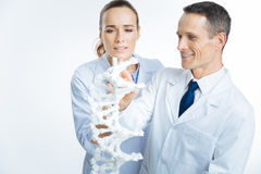 Erfahrene medizinische Fachleute, die zusammen Genetik studieren stockbilder
