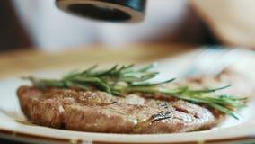 Erfahrener Chef besprüht gebratenes Fleisch mit Salz in der Küche des Restaurants stock video footage