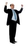 Erfahrener Unternehmensmann, der Erfolg teilt lizenzfreies stockfoto