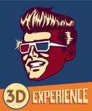 Erfahrung 3D Weinlesemann, der Retro- 3d Gläser, Retro- Filme der Sciencefiction 3d trägt Lizenzfreie Stockfotografie
