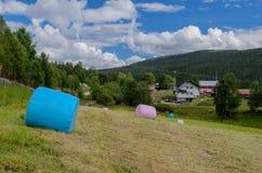 Erfasstes Feld von Atnbrua mit Strohballen stockfotos