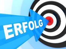 Erfolg. Abstract success. Blue arrow in target (done in 3d Royalty Free Stock Photo