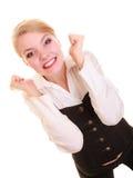 Erfolg in der Arbeit Geschäftsfrau, die Förderung feiert Stockbilder