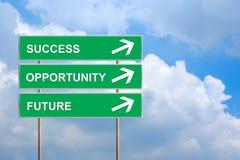 Erfolg, Gelegenheit und Zukunft auf grünem Verkehrsschild Lizenzfreie Stockfotos