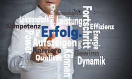 Erfolg in german Success Wordcloud touchscreen is operated by. Man stock image