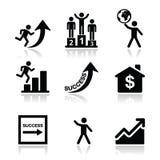 Erfolg im Geschäft, Ikonen der selbstständigen Entwicklung eingestellt Lizenzfreies Stockbild