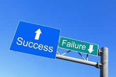 Erfolg oder Störung - Verkehrsschilder Stockfoto