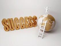 Erfolg. Strichleiter oben auf Erde Stockfoto