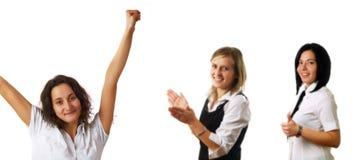 Erfolg und Glück bei der Arbeit Stockfotos