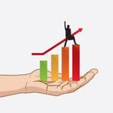 Erfolgreich vom Geschäft an Hand Stockbilder