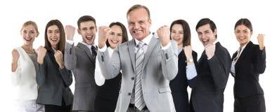 Erfolgreiche aufgeregte Geschäftsleute lizenzfreies stockbild