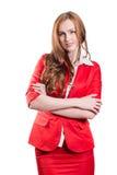 Erfolgreiche Dame im Rot Stockbild