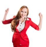 Erfolgreiche Dame im Rot Stockfoto