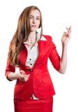 Erfolgreiche Dame im Rot Stockfotos