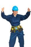 Erfolgreiche Erbauerarbeitskraftfrau stockbilder