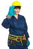 Erfolgreiche Erbauerarbeitskraftfrau stockfotos
