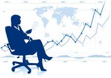 Erfolgreiche Geschäftsdame im Stuhl Lizenzfreie Stockbilder