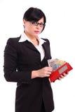 Erfolgreiche Geschäftsfrau mit Geld und Mappe Stockbilder