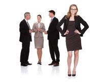 Erfolgreiche Geschäftsfrau mit ihrem Team stockfotos
