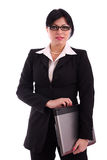 Erfolgreiche Geschäftsfrau mit Laptop Stockfotografie