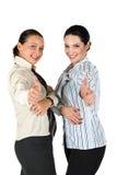 Erfolgreiche Geschäftsfrau, die Daumen aufgibt Lizenzfreies Stockbild