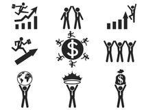 Erfolgreiche Geschäftsmannpiktogrammikonen eingestellt Stockbilder