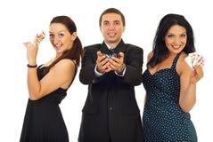 Erfolgreiche Gruppe Kasinospieler Stockbild