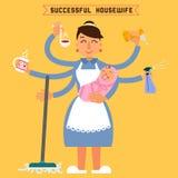 Erfolgreiche Hausfrau Erfolgreiche Frau Mehrprozeßfrau lizenzfreie abbildung