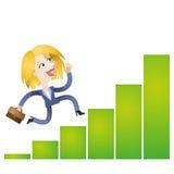 Erfolgreiche KarikaturGeschäftsfrau, die wachsendes Balkendiagramm laufen lässt Stockfoto
