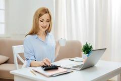 Erfolgreiche lächelnde Frau, die Berechnungen macht Lizenzfreies Stockbild