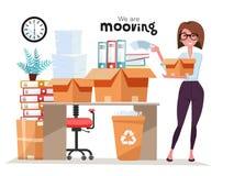 Erfolgreiche lächelnde Geschäftsfrau-Holdingpappschachtel mit Arbeitsmaterial, Stapel Ordner am Bürobewegen Beweglicher Job des B stock abbildung