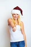 Erfolgreiche Weihnachtsfrau Stockfotos