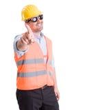 Erfolgreicher Auftragnehmer, der Abfall oder keine Geste macht Stockbild