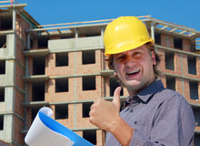 Erfolgreicher Bauarbeiter Stockfotos