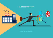 Erfolgreicher Führer erzielt Ziel lizenzfreie abbildung