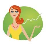 Erfolgreicher Geschäftsfrau-Anlagemarktvorrat Stockfoto