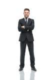 Erfolgreicher Geschäftsmann auf weißem Hintergrund stockfotografie