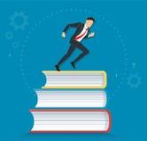 Erfolgreicher Geschäftsmann, der auf Buchikonendesign-Vektorillustration, Bildungskonzepte läuft Stockfotos