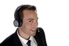 Erfolgreicher Geschäftsmann, der Aufruf genießt Lizenzfreies Stockfoto