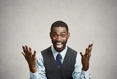 Erfolgreicher Geschäftsmann feiert Sieg Stockfotos