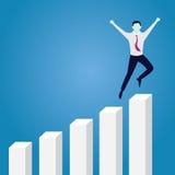 Erfolgreicher Geschäftsmann Happy auf die Oberseite Lizenzfreie Stockbilder