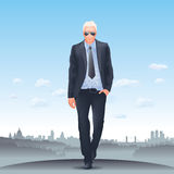Erfolgreicher Geschäftsmann - London-Skyline Lizenzfreie Stockfotografie