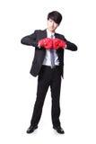 Erfolgreicher Geschäftsmann mit Boxhandschuhen Stockfoto