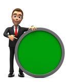 Erfolgreicher Geschäftsmann mit einem grünen Kreis lizenzfreies stockbild