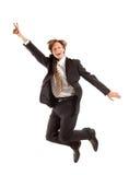 Erfolgreicher Geschäftsmann springen Lizenzfreie Stockfotografie