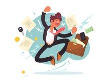 Erfolgreicher Geschäftsmann, der für Freude springt Lizenzfreies Stockfoto