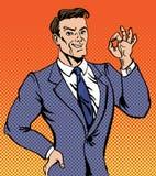 Erfolgreicher Mann im Knall Art Style Gesturing Okay Stockfotografie